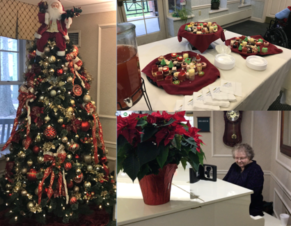 Christmas party celebration: Christmas tree, desserts and women playing a piano