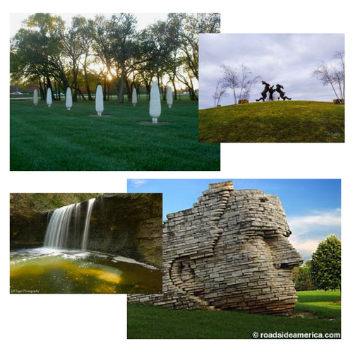 Sights to see in Dublin, Ohio: parks, water fall, face sculpture