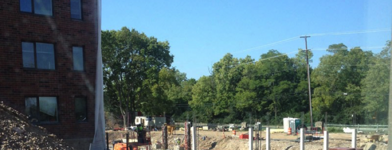 Construction showing foundation and framing
