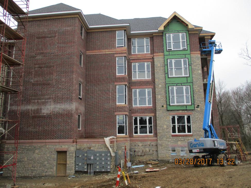 View of construction progress on flats