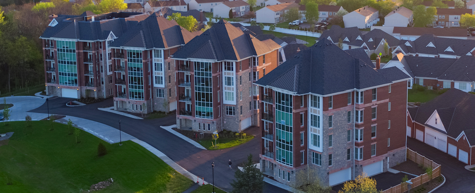 Aerial view of Friendship Village of Dublin's campus