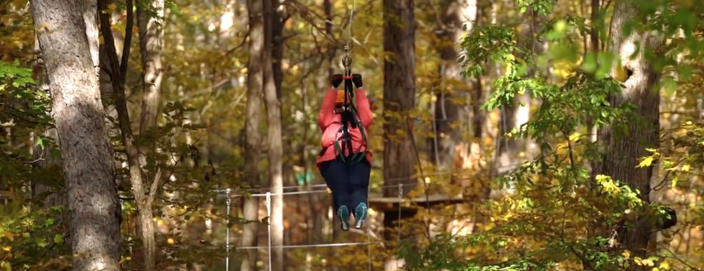 Retiree zip lining through woods