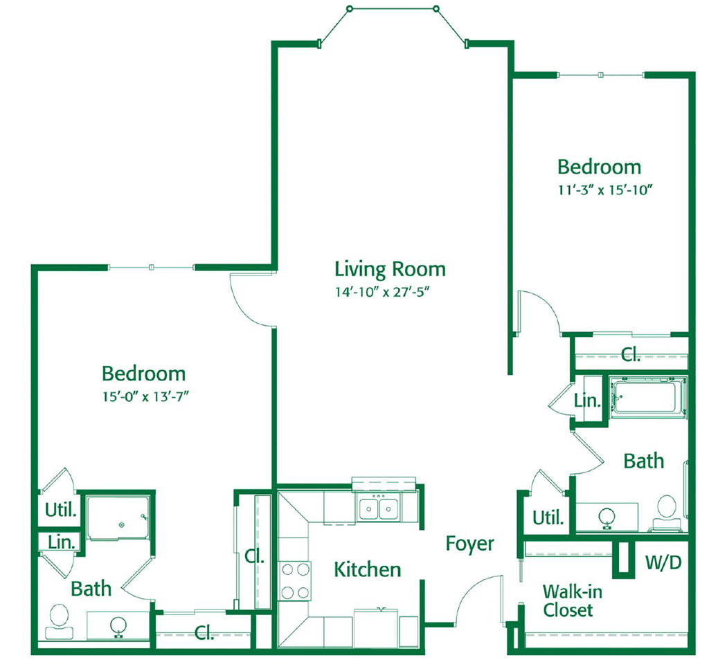 Friendship Village Dublin apartment homes – Two Bedroom North Deluxe II