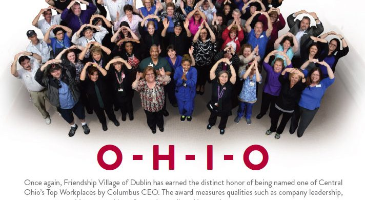 """Group of people spelling out """"O-H-I-O"""" with their arms"""