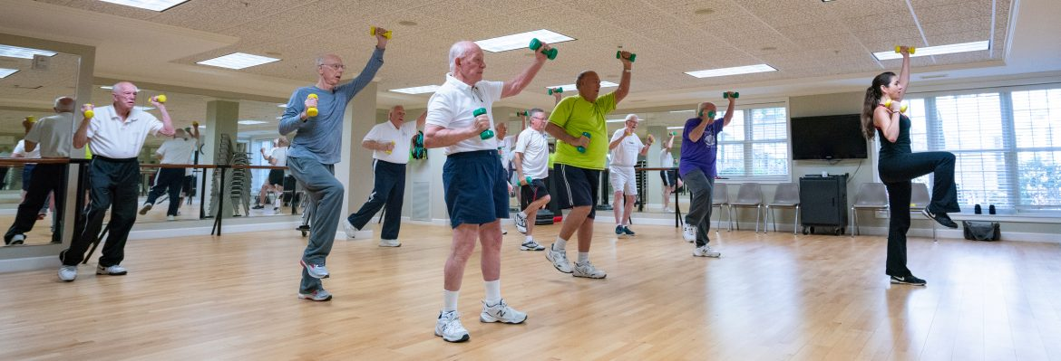 Fitness class led by instructor