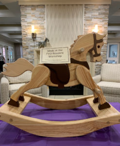 rockinghorse crafted by a Friendship Village of Dublin resident