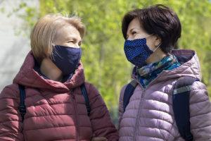 women friends outdoors wearing masks