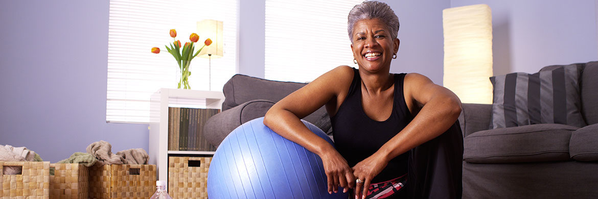 Senior woman with exercise ball