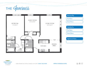 The Inverness 2 bedroom senior living apartment