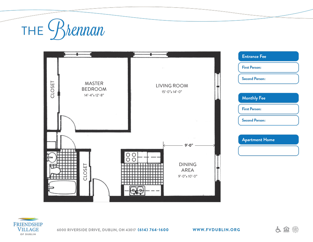 Floor plan of the Brennan independent living apartment