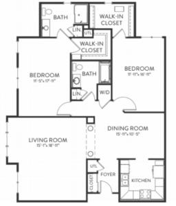 floorplan for foxford senior living apartment in dublin ohio