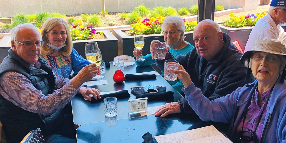 columbus seniors raise a glass while dining out