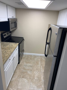 Galley kitchen in The Brandon independent living apartment