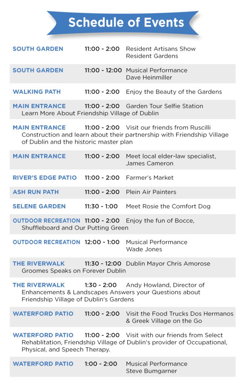 Garden Tour Schedule of Events